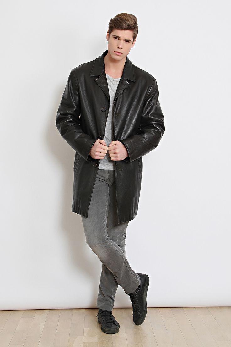 90'lar Calvin Klein Siyah Deri Vintage Palto - AUVINTAGE