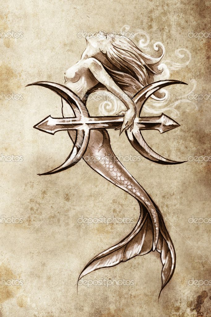 Or maybe forgo the giant astrological sign and just add a small Pisces sign as a tattoo on the mermaids rib cage or side.