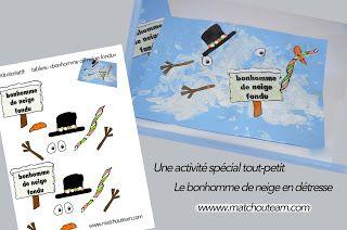 Zut !!! Mon bonhomme de neige a fondu ! |     Activité spéciale minipitchouns :  le bonhomme de neige fondu !