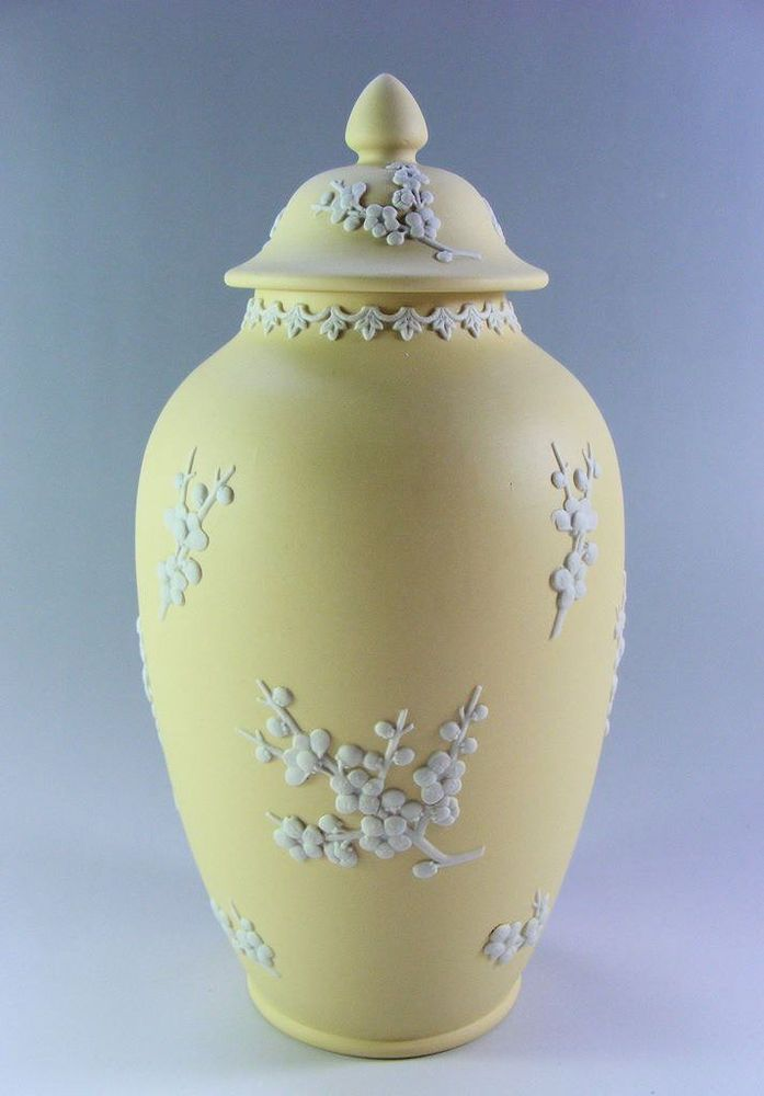 Wedgwood Jasper Ware Primrose Yellow Prunus Pagoda Urn/Lidded Jar 8 1/2 inches