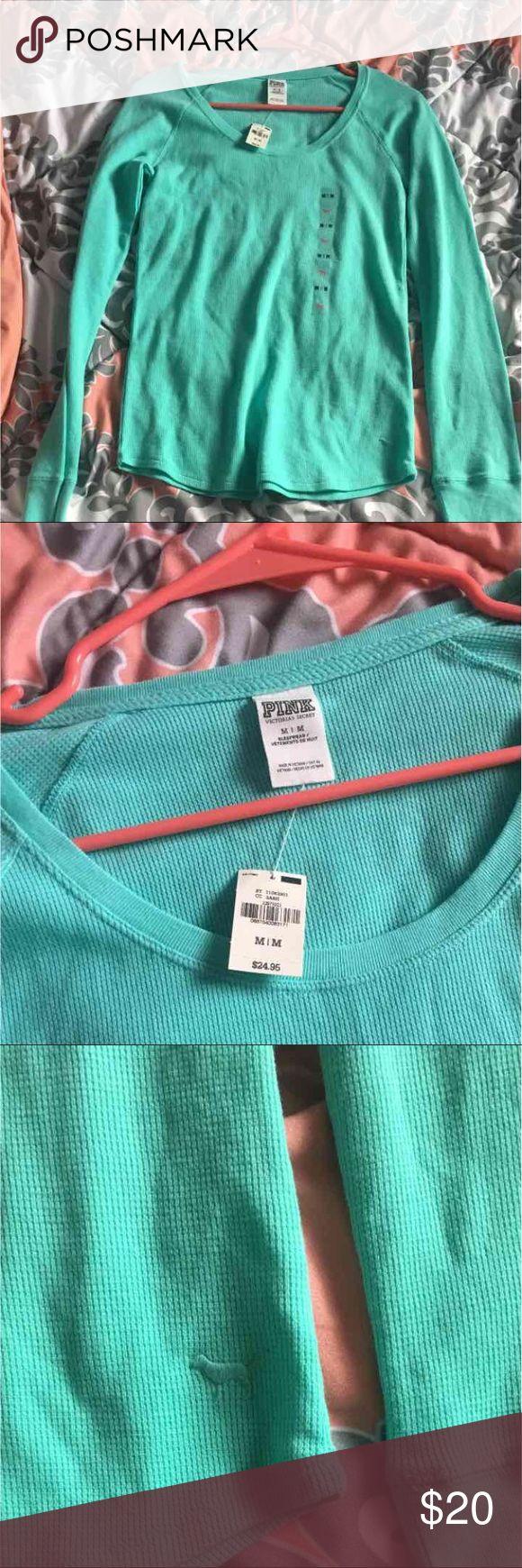 Victoria's Secret PINK long sleeve mint shirt NWT; never worn! Victoria's Secret PINK, size medium, long sleeve mint shirt. Same day or next day shipping! PINK Tops Tees - Long Sleeve