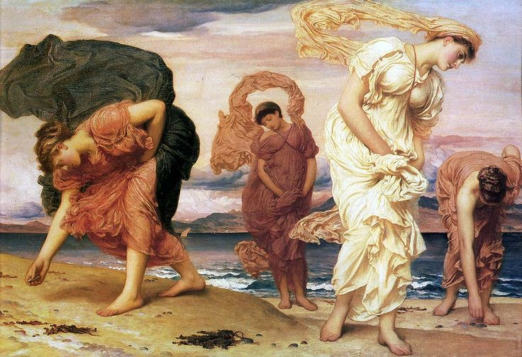 """leighton frederick greek girls picking up pebbles (from <a href=""""http://www.oldpainters.org/picture.php?/28952/category/12790""""></a>)"""