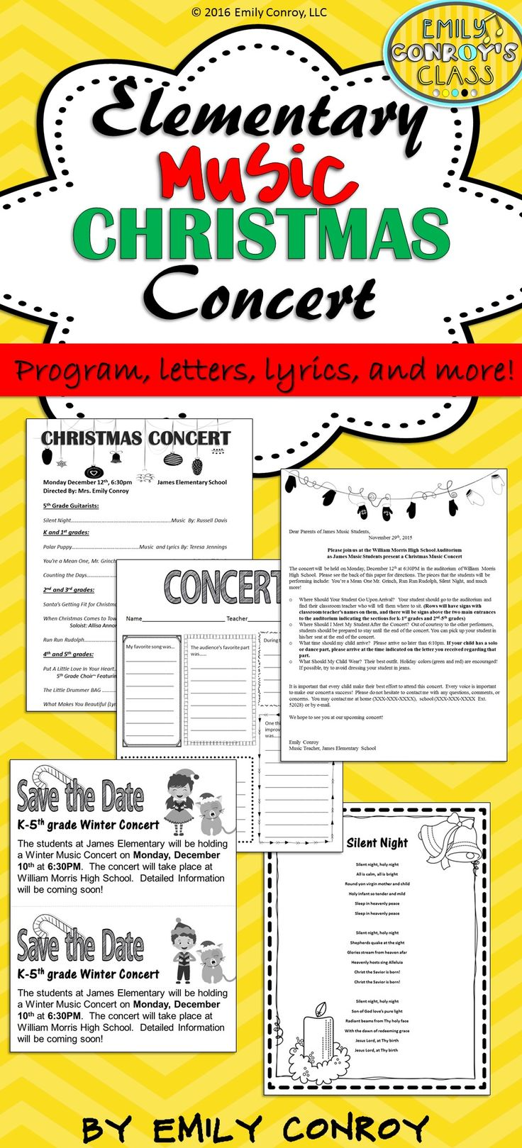 promote!This Christmas Concert planning set contains song ideas, two programs, save the dates, letters to parents, seating charts, and other documents to ease the stress of planning your next winter concert!