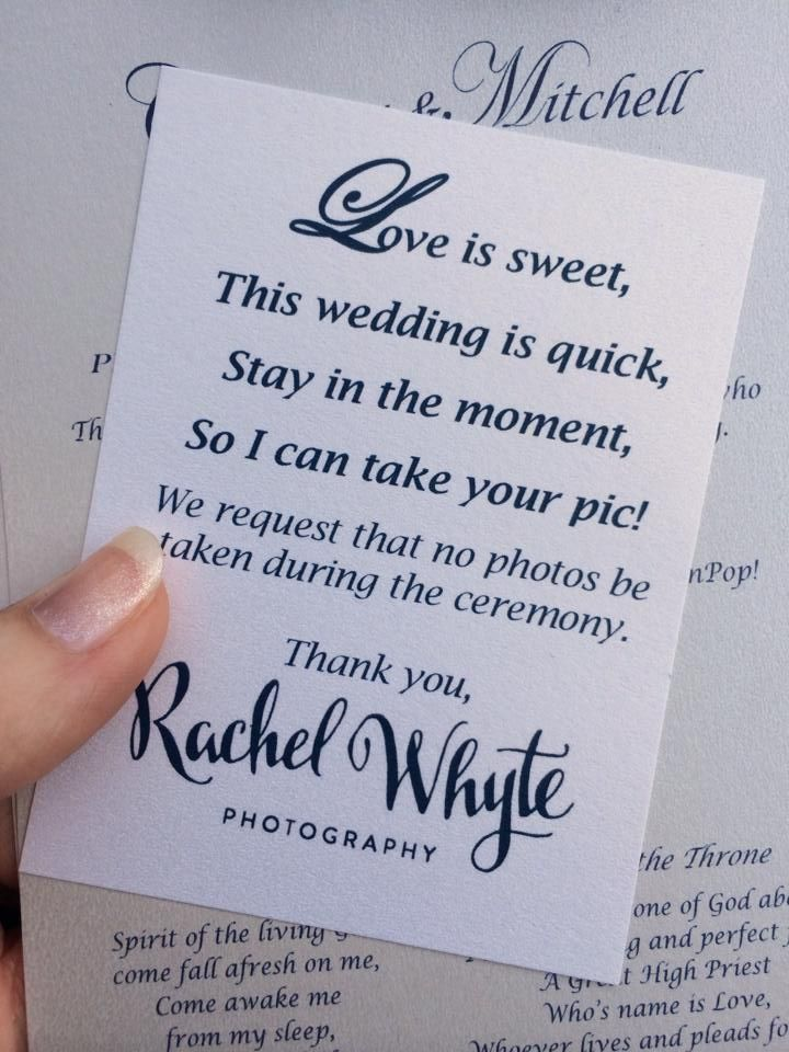 Unplugged wedding. I WILL be doing this for the vow renewal. I quite like this idea - just means nobody would get in Rob's way :)