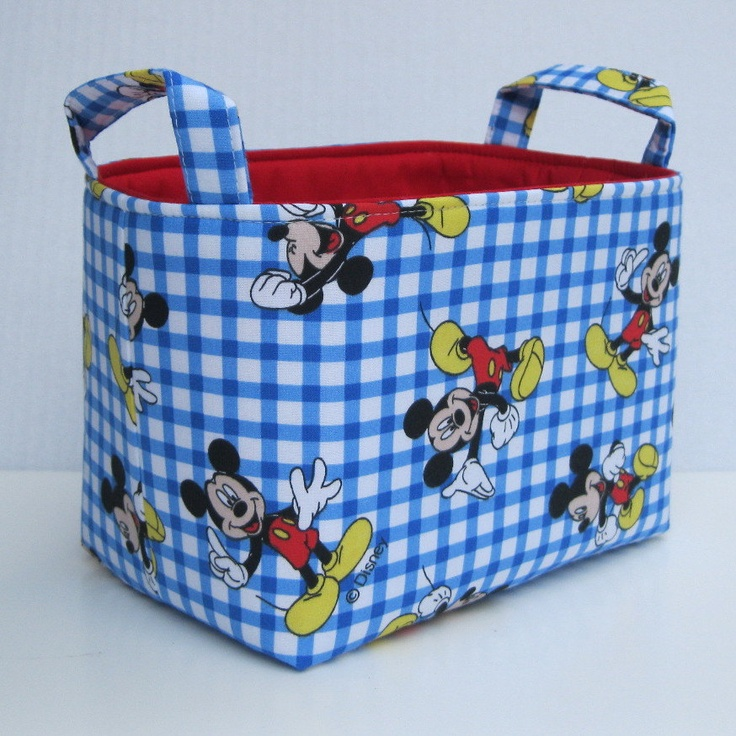 Superbe Fabric Storage Bin Basket Container   Made With Mickey Mouse Fabric