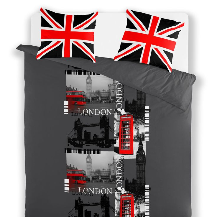 Bettbezug 2 Personen LONDON MEMORIES. Bettbezug 220x240 + 2 Kissenbezüge. 70% Polyester; 30 % Baumwolle. Stilisierte Zeichnung von der Stadt London. So british!!   Pflegehinweise: Bettzeug mit dunklen Farben dreimal getrennt waschen. Waschen 30 Grad. Nicht bleichen.  Schonende Trocknung: 60 Grad.