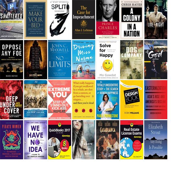 """Wednesday, April 26, 2017: The Chelmsford Public Library has 14 new bestsellers, 11 new videos, 14 new audiobooks, three new children's books, and 40 other new books.   The new titles this week include """"Shattered: Inside Hillary Clinton's Doomed Campaign,"""" """"Make Your Bed: Little Things That Can Change Your Life...And Maybe the World,"""" and """"Split."""""""