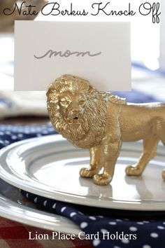 Nate Berkus Knock Off: Lion Place Card Holders - Simple Stylings