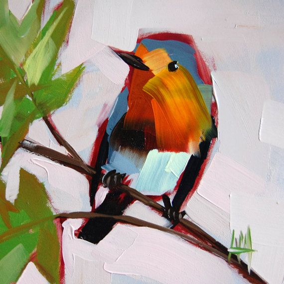 Robin no. 56 original bird oil painting by Moulton 6 x 6 inches on panel…