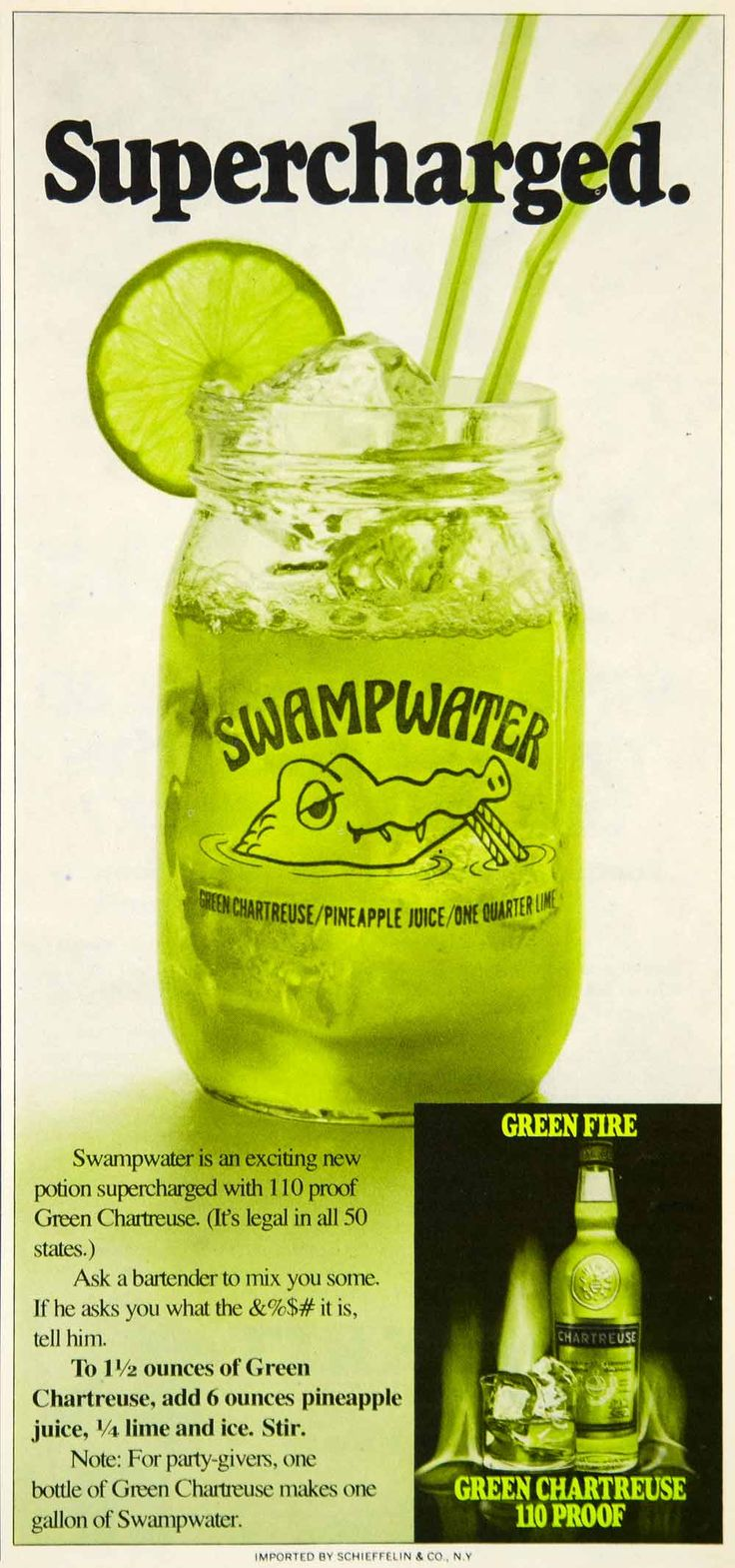 1975 Ad Green Fire Chartreuse 110 Proof Alcohol Beverage Swampwater Mixed Drink #vintage #alcohol #advertising #swampwater