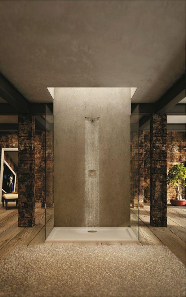 receveur de douche extra plat, salle de bains dans la chambre et douche pluie