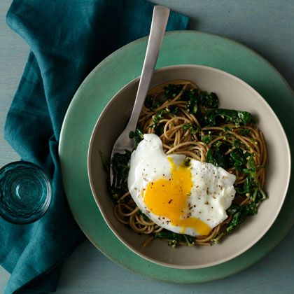 The BEST POST-WORKOUT RECIPE: Spaghetti With Wilted Greens and Walnut-Parsley Pesto, packed with protein, healthy fats and whole grains! www.health.com