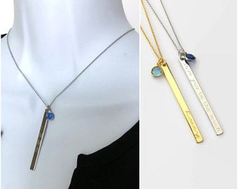Custom Birthstone jewelry gold bar necklace Swarovski birthstone necklace name date necklace crystal birth stone necklace gift for her