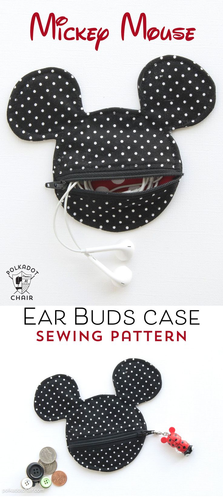 Free Sewing pattern for a Mickey Mouse inspired earbuds case / coin purse. This would be so cute to make before my next Disney vacation!