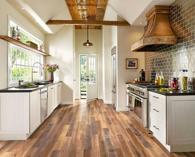 Rustic Farmhouse Kitchen. Rustic Farmhouse Kitchen with reclaimed wood ceiling, reclaimed wood floor and reclaimed wood shelves #RusticFarmhouseKitchen #RusticKitchen #FarmhouseKitchen #Rusticfarmhouse #reclaimedwoodceiling #reclaimedwood #ceiling #reclaimedwoodfloor #reclaimedwoodshelves Floor Coverings International of East Bay CA