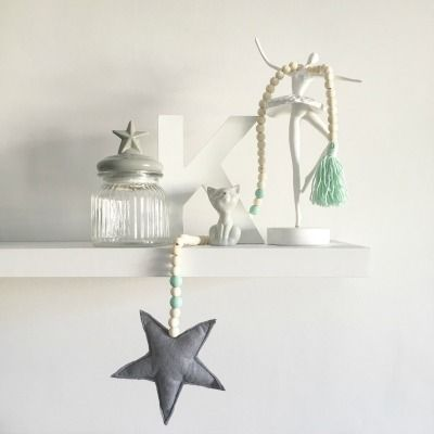 Felt, Wood Bead and Tassel Garland in grey and mint from Tiger Lily