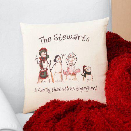 Personalized Snowmen Stick Family Pillow, Multicolor
