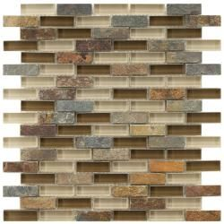 These Somertile mosaic tiles are perfect for your bath, backsplash, and kitchen. A fascinating mix of cream and brown glass highlight these slate subway tiles.