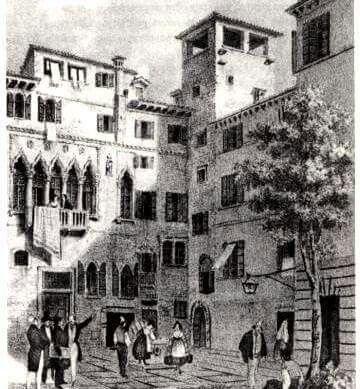 stampa del 1835 che mostra la casa in cui nacque Marco Polo