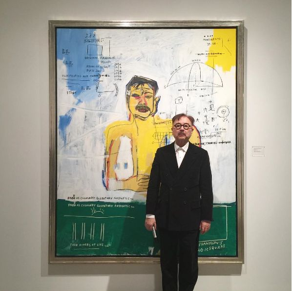 "Michael ""Mr Chow"" Chow w/portrait by Jean-Michel Basquiat"