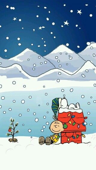 Charlie Brown & Snoopy Christmas phone wallpaper