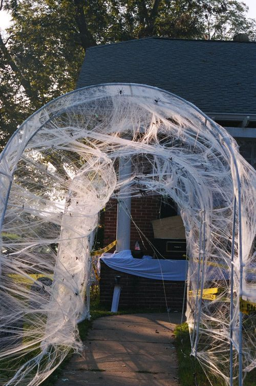 Great spiderweb archway walkthrough: Halloweenvampir Spiders, Vampires Spiders, Entrance Ideas, Cool Ideas, Spiders Theme, Halloween 2005, 2005 Vampires, Outdoor Halloween Decor, Spiders Web