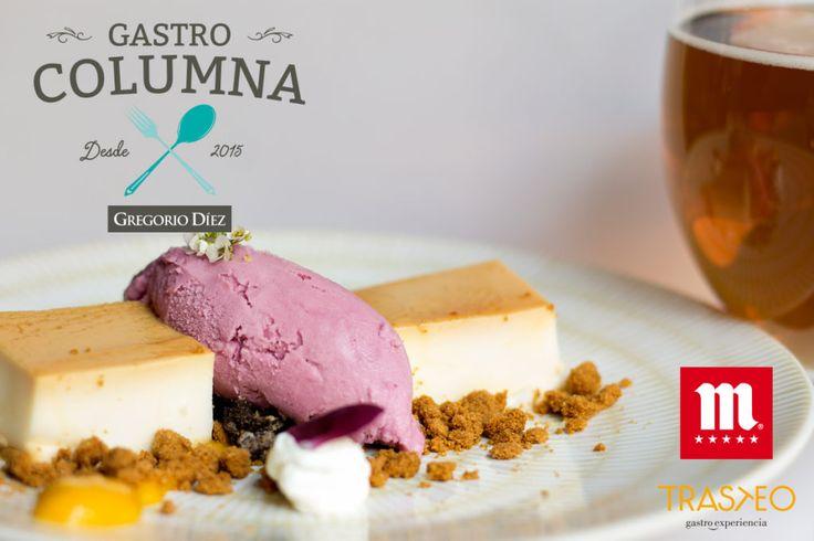 Tarta de queso con helado de frambuesa en el restaurante Trasteo