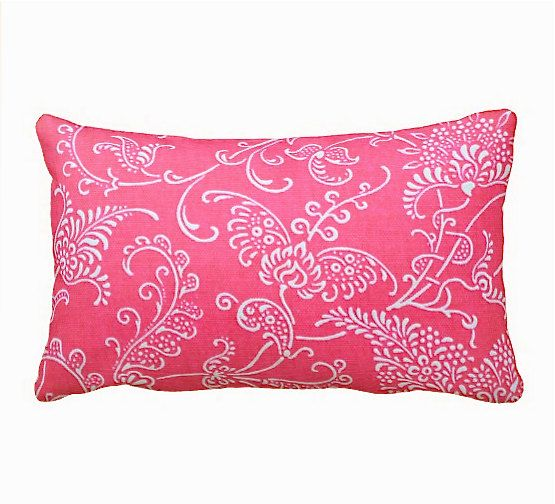 7 Sizes Available: Pink Throw Pillow Cover Hot Pink Pillow Cover Pink Cushion Cover Pink Euro Pillow Cover Pink Lumbar Pillow Paisley Pillow