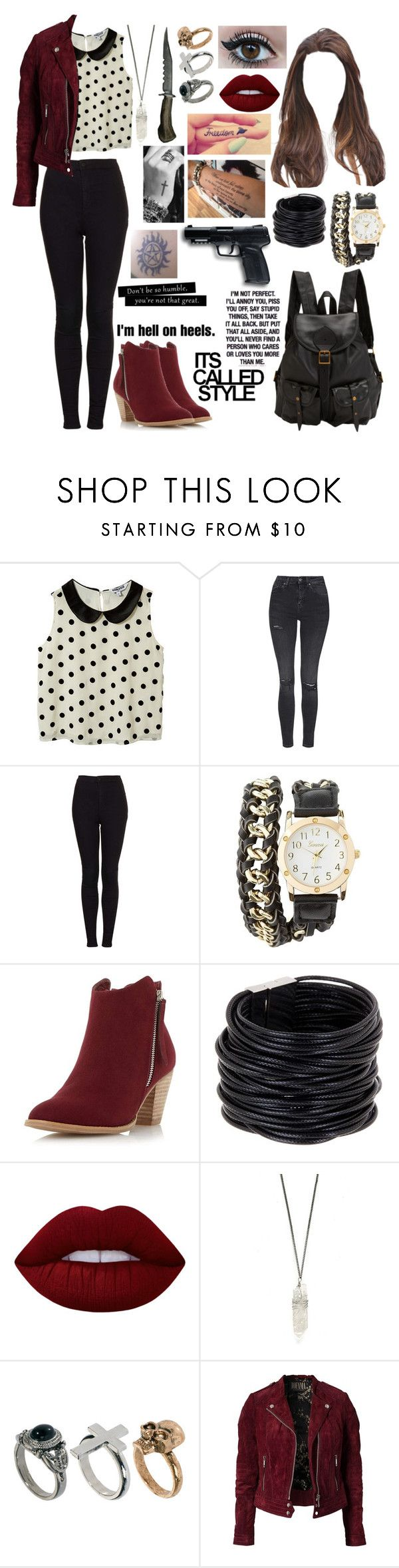 """""""Untitled #507"""" by skh-siera18 ❤ liked on Polyvore featuring New Look, Topshop, Charlotte Russe, Dorothy Perkins, Saachi, Lime Crime, River Island, Jofama, All Black and Jas M.B."""