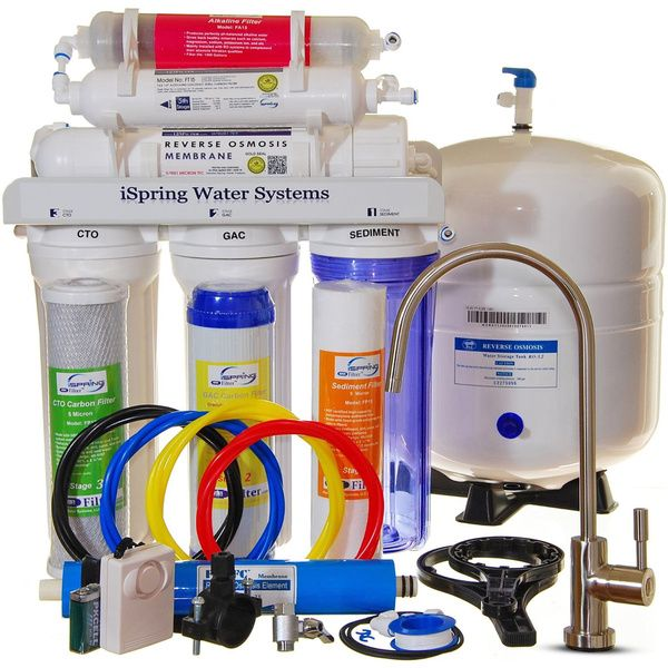 iSpring RCC7AK WQA-certified Reverse Osmosis 6-stage Under-sink Alkaline Water Filter and Designer Faucet