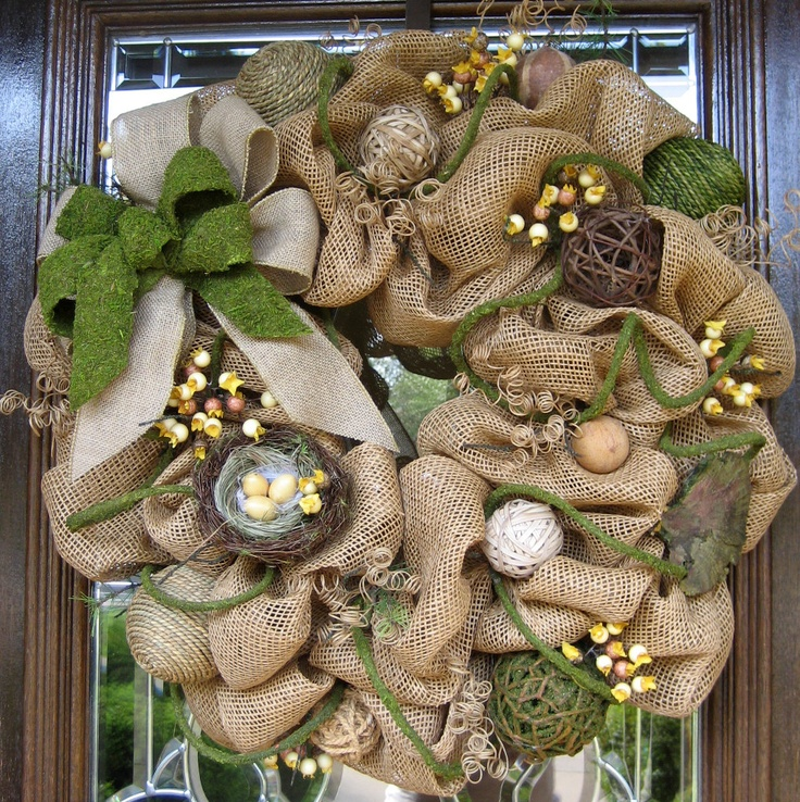 Deco Mesh BURLAP WREATH with Moss and Burlap Bow.