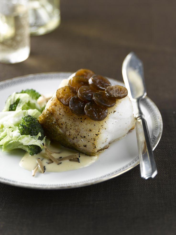 Heek met truffel en saus van comté