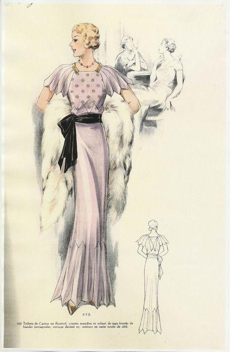 1930's Parisian Fashion Plate | Evening wear