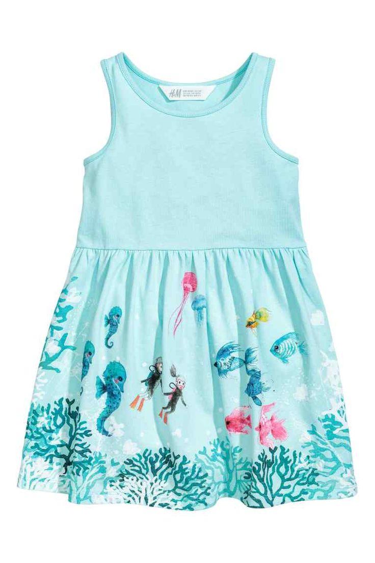 Tricot jurk met dessin - Lichtturkoois/zeepaard - KINDEREN | H&M NL