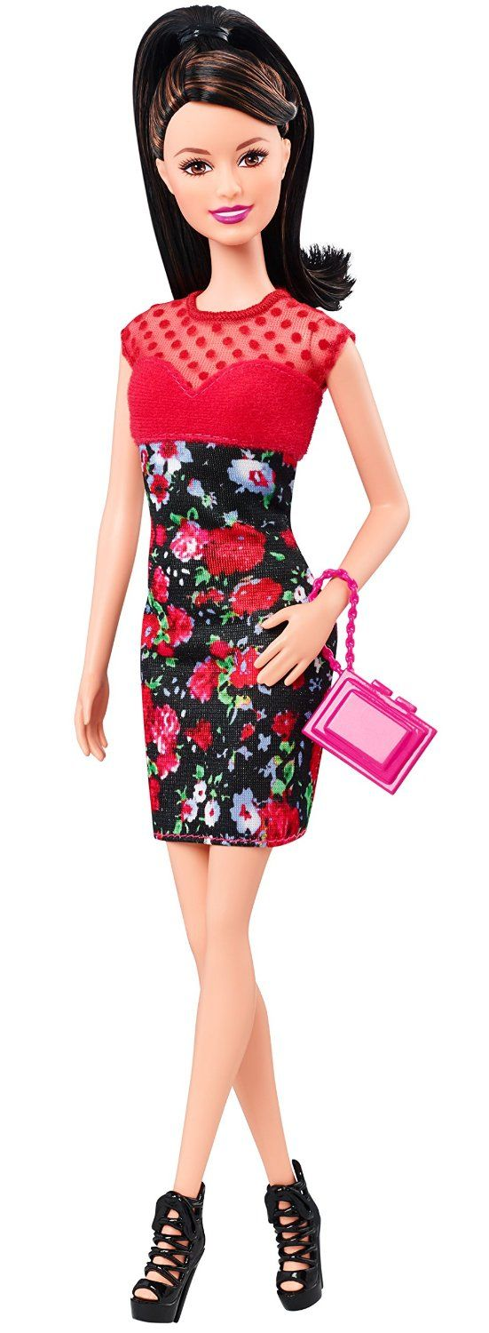 Barbie Fashionistas Raquelle Doll Flower Print Dress With Red Bodice Toys Games