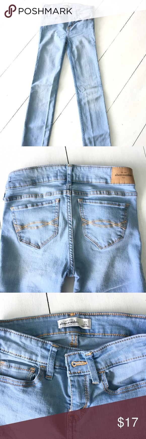Abercrombie Girls sz 12 skinny jeans EUC Super cute Abercrombie Girls size 12 jeans! EUC in a light blue wash. Rarely worn, great quality! abercrombie kids Bottoms Jeans