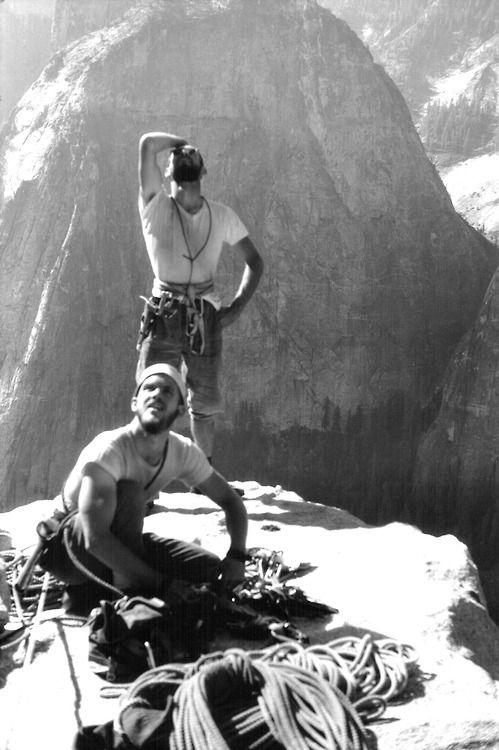 Chuck Pratt and Royal Robbins atop El Cap Spire, the Salathé Wall, El Capitan, Yosemite Valley, California. First ascent by Robbins, Pratt, and Frost, 9½ days, September 1961.
