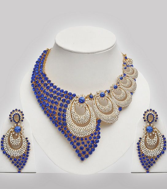 blue white stones studded wedding jewelry set click image to close