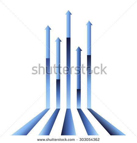 Blue arrow vectors pointing to the sky. Gradient colored graph vector.