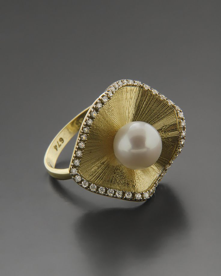 Δαχτυλίδι χρυσό Κ14 με Mαργαριτάρι & Zιργκόν