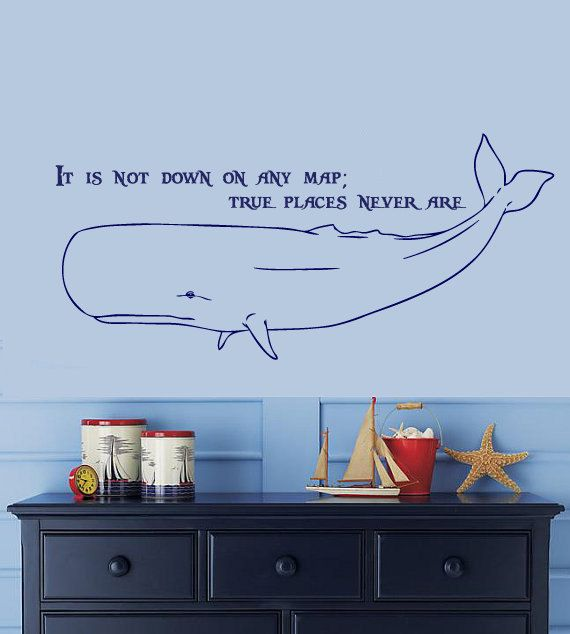 Delightful Nautical Wall Stickers Part - 14: MOBY-DICK Herman Melville Whale Nautical Wall Decal 22.4H X 50W Any Color