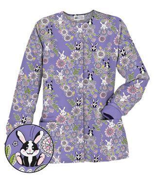 UA Hippity Hop Dark Lilac Warm Up Scrub Jacket Style # H834HHD  #uniformadvantage #uascrubs #adayinscrubs #scrubs #printscrubs #easterscrubs #happyeaster