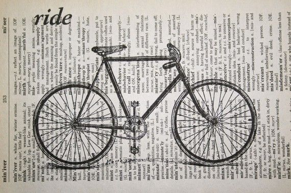 Bicycle Ride Print on Vintage Dictionary  5 x 7 by CrowBiz on Etsy, $10.00
