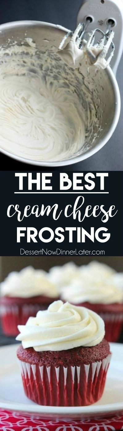 This is The BEST Cream Cheese Frosting - thick, sturdy, and pipeable, which makes it perfect for cake decorating, plus it's not overly sweet!
