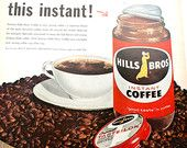Hills Brothers coffee, 1960, Vintage Food Coffee Ad, Instant Coffee, Taste Lock, Mad men, Retro Kitchen, Collectible, Wall Decor によく似た商品を Etsy で探す