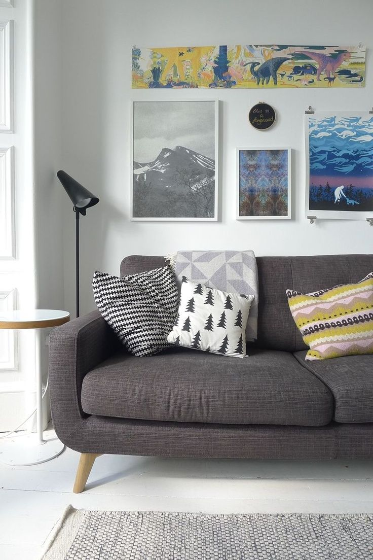 Throw Pillows That Go With Gray Couch : dark charcoal sofa with light grey rug (nice touches of colour in pillows and art) Beach House ...