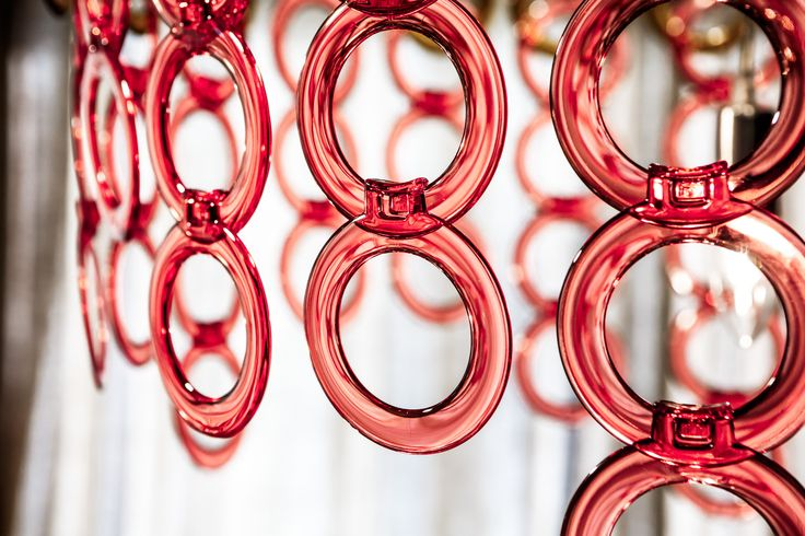 Acrylic Surilight chandelier - playful color palette - Flamingo.