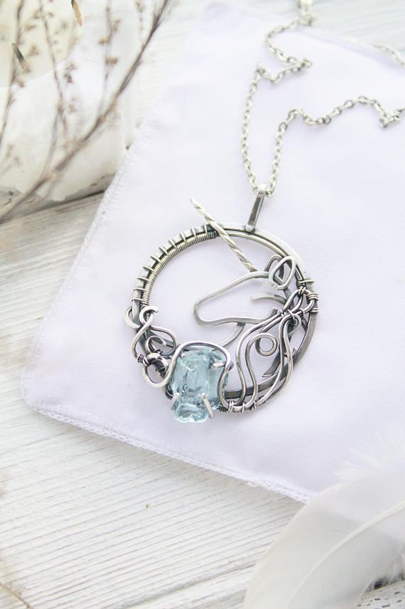 Unicorn silver pendant with raw crystal - Sterling silver jewelry ...