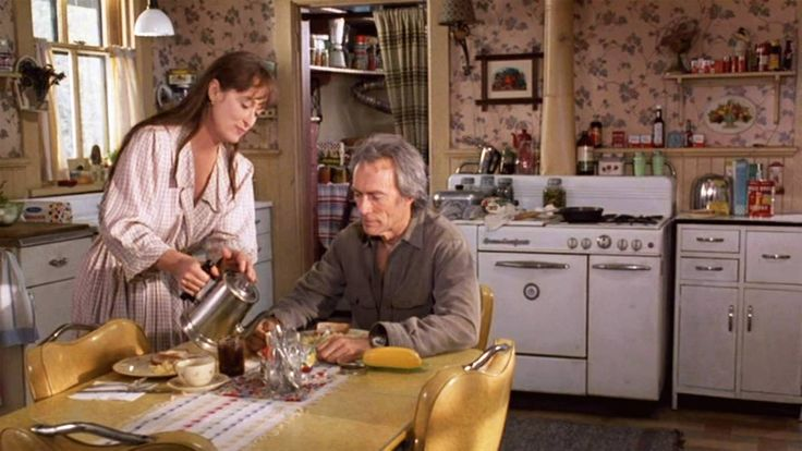 The Bridges of Madison County A modest farm house in 1960s-era Madison County, Iowa, is the setting for this story of a steamy four-day affair between a lonely Italian housewife and a dashing National Geographic photographer.   Meryl Streep - Movie Homes - Veranda