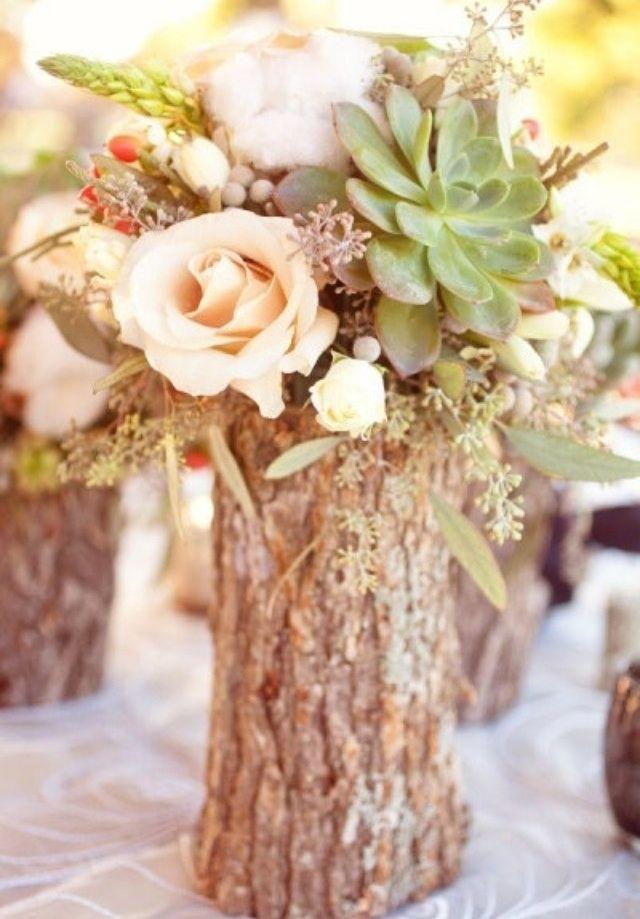 How cute! Wedding diy centerpiece idea for a rustic succulent plant